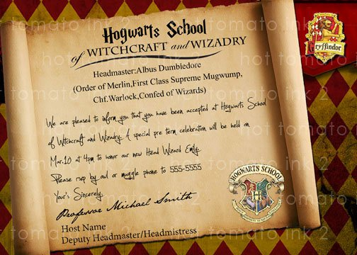 Harry Potter Birthday Invitation Wording