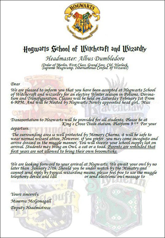 Harry Potter Invitation Wording