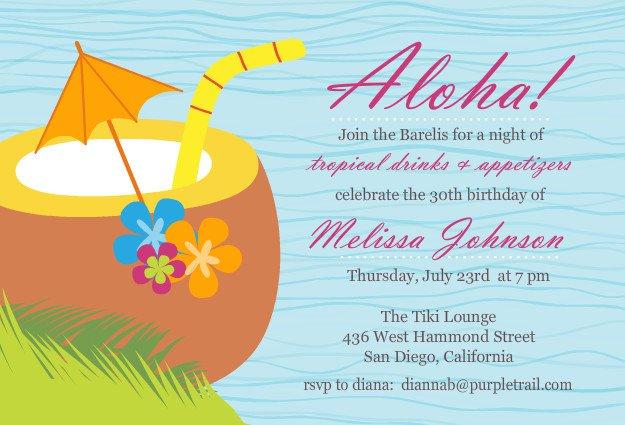 Hawaiian Luau Invitation Wording