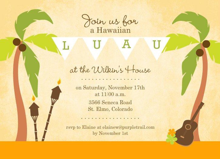 Hawaiian Party Invitations Templates Free