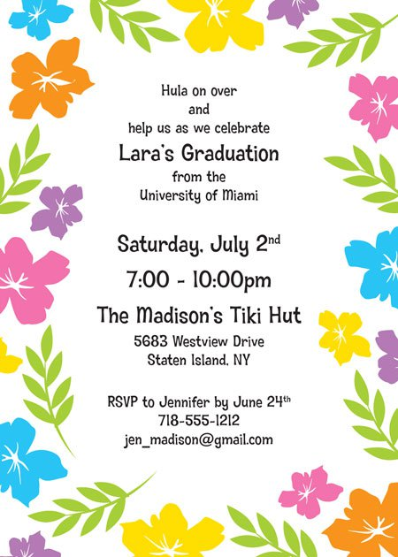Hawaiian Themed Graduation Party Invitations