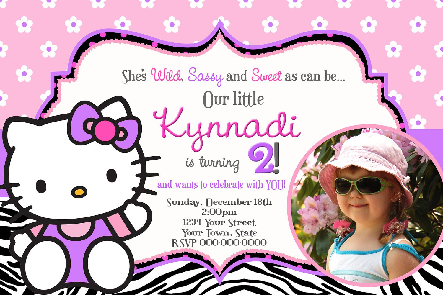 Hello Kitty 2nd Birthday Invitation Wording