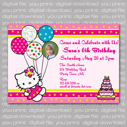 Hello Kitty Birthday Invitation Cards Print