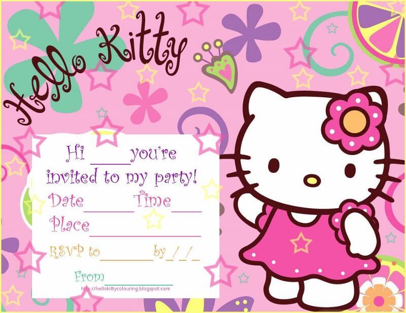 Hello Kitty Party Invitations Blank