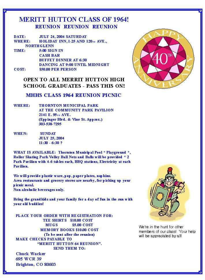 High School Class Reunion Invitation Letter