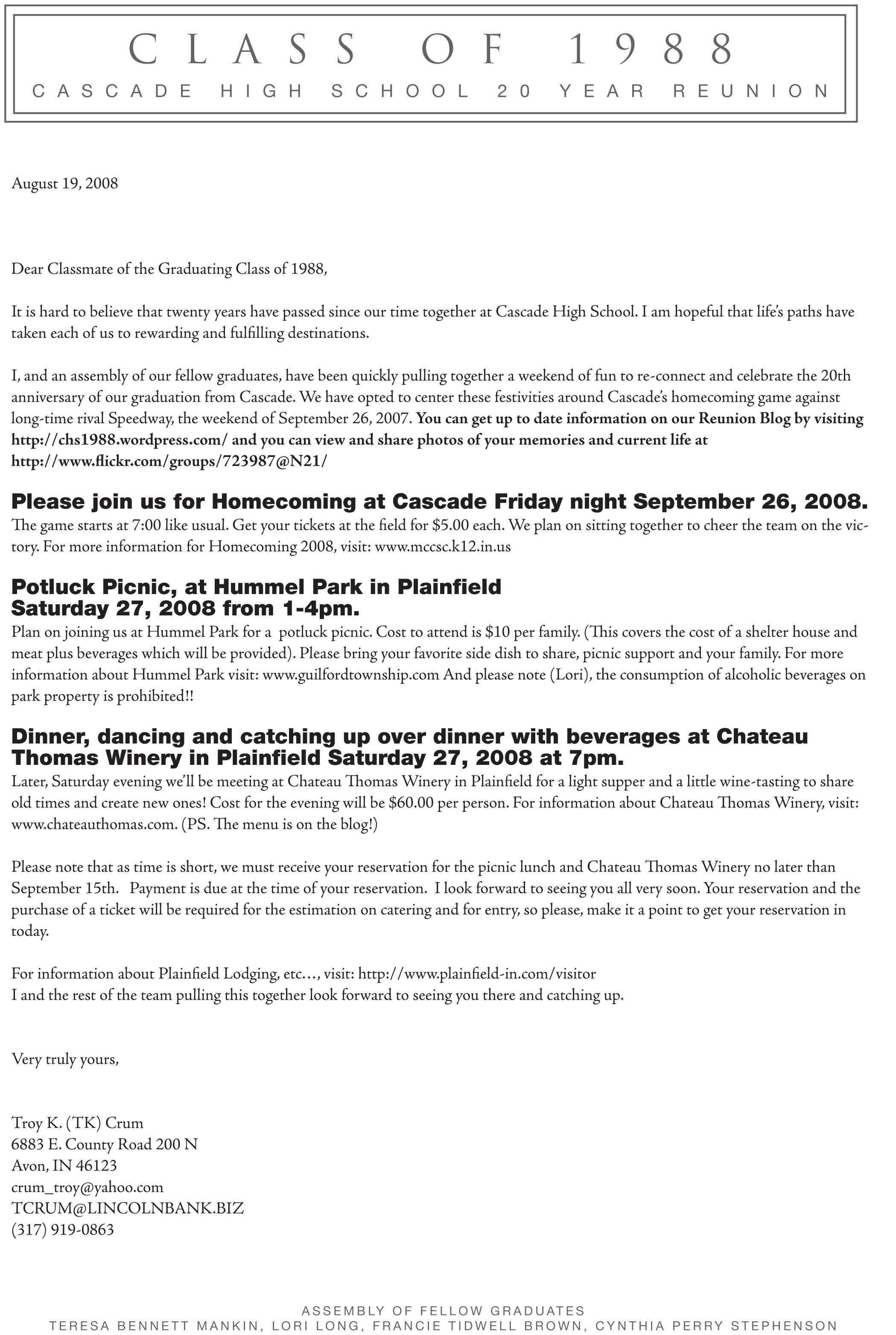 High School Reunion Invitation Letter