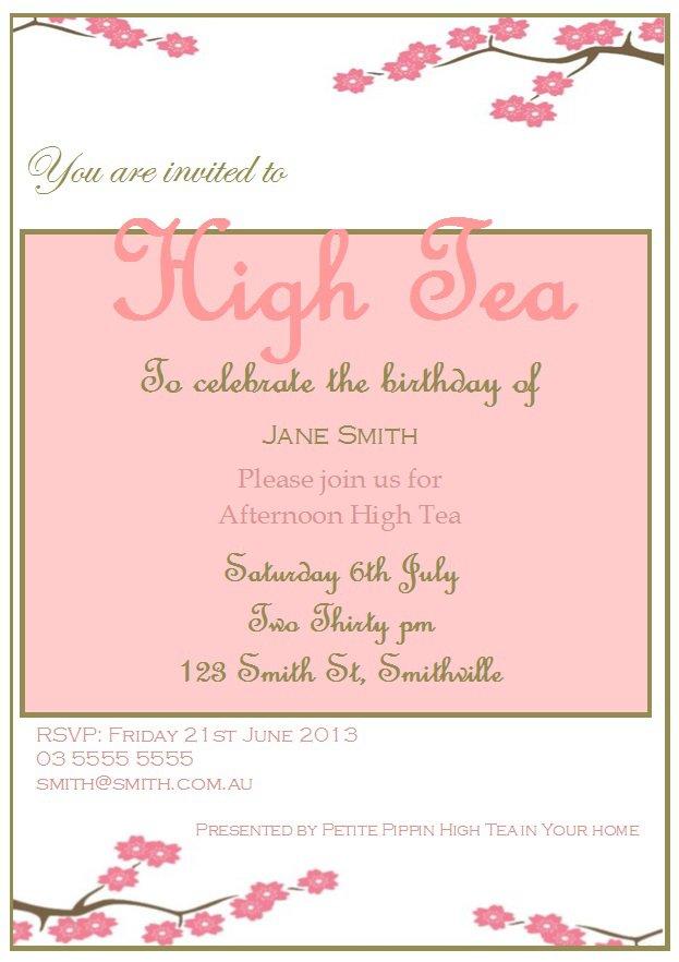 High Tea Invitation Example