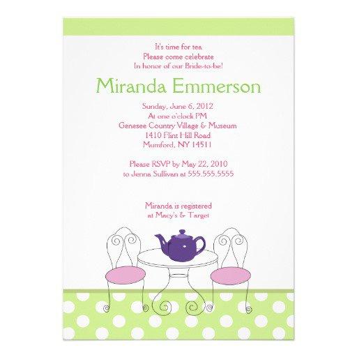 High Tea Invitation Wording Bridal Shower