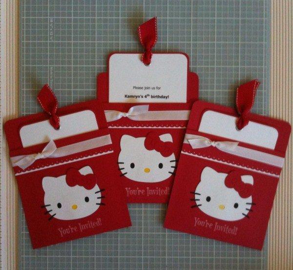 Homemade Hello Kitty Birthday Invitations