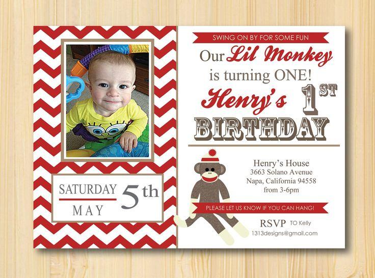 Homemade Sock Monkey Invitations