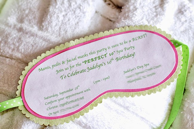 Homemade Spa Birthday Party Invitations