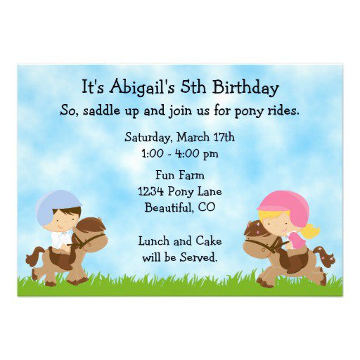Horse Party Invitations For Girls