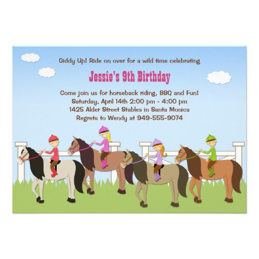 Horse Riding Birthday Party Invitation