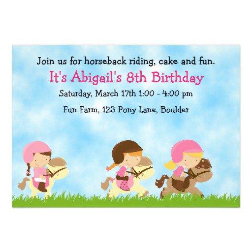 Horseback Riding Birthday Invitations