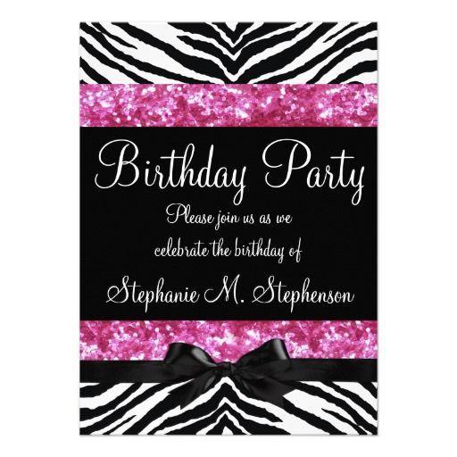 Hot Pink And Zebra Birthday Invitations