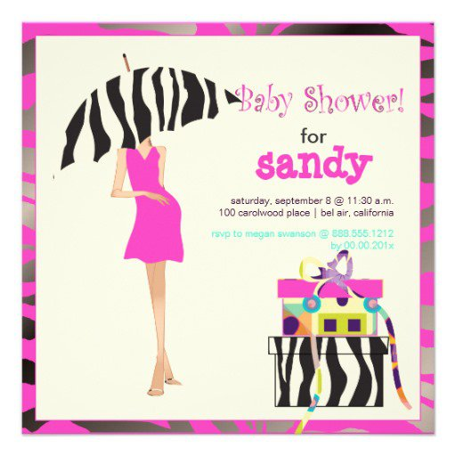 Hot Pink Zebra Baby Shower Invitations