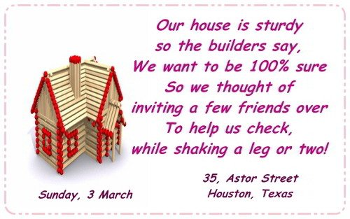 Housewarming Invitation Quotes In English
