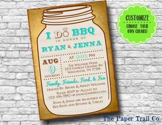 I Do Bbq Mason Jar Invitations