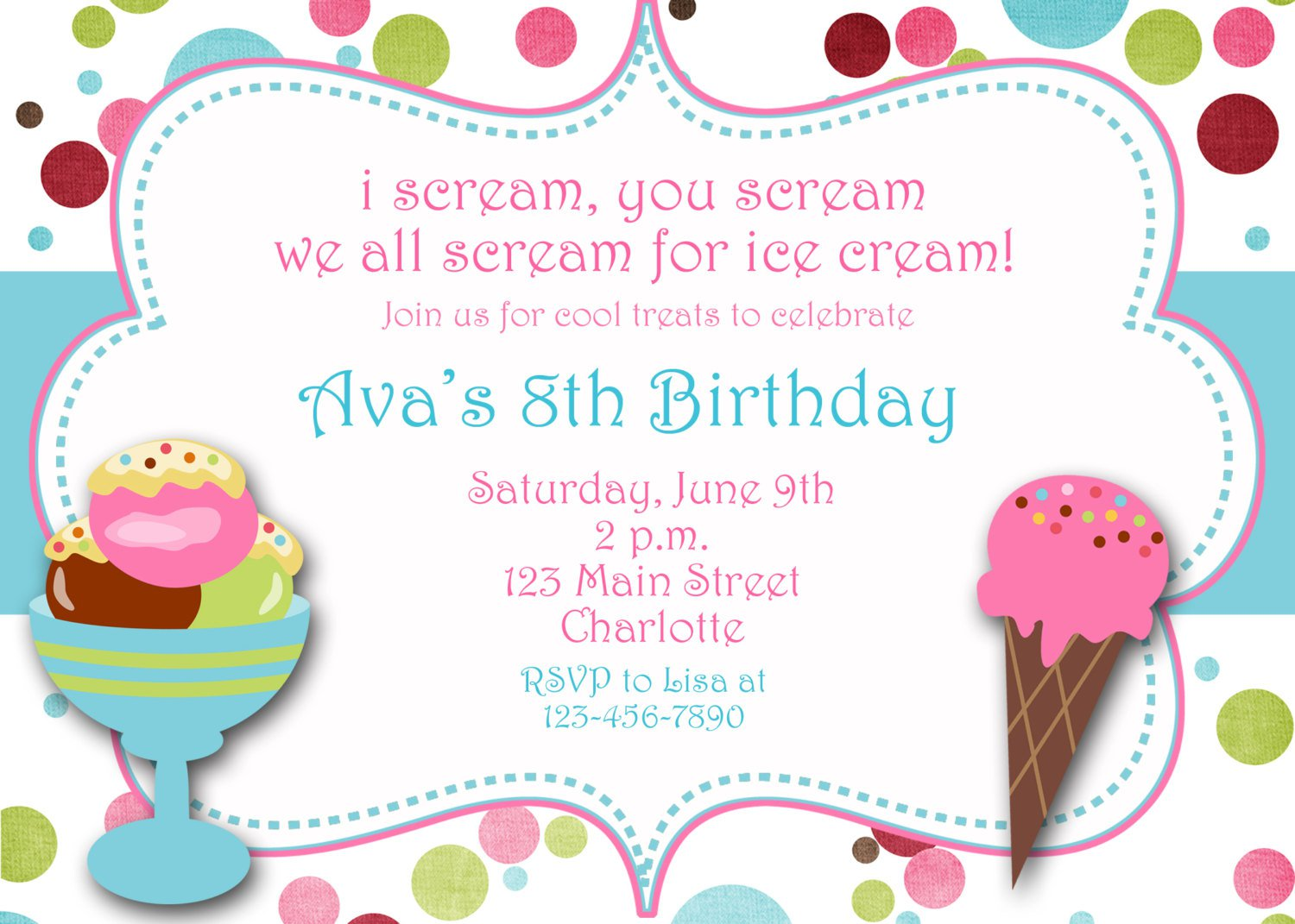 Ice Cream Birthday Invitation Wording