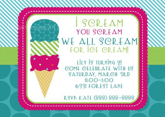 Ice Cream Party Invitation Templates Free