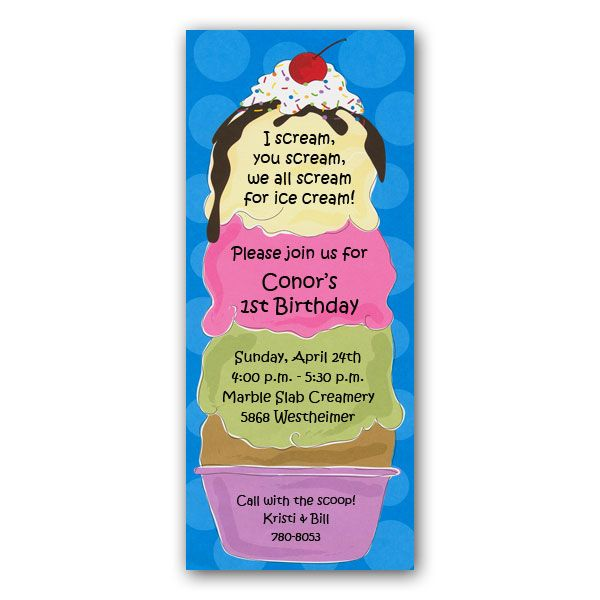 Ice Cream Sundae Party Invitation Wording