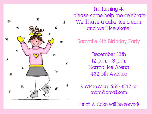 Ice Skating Birthday Party Invitation Wording