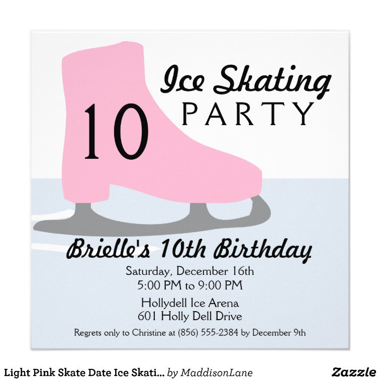Ice Skating Birthday Invitation Wording