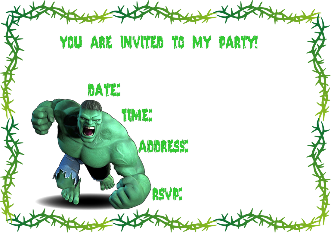 Incredible Hulk Party Invitations Free