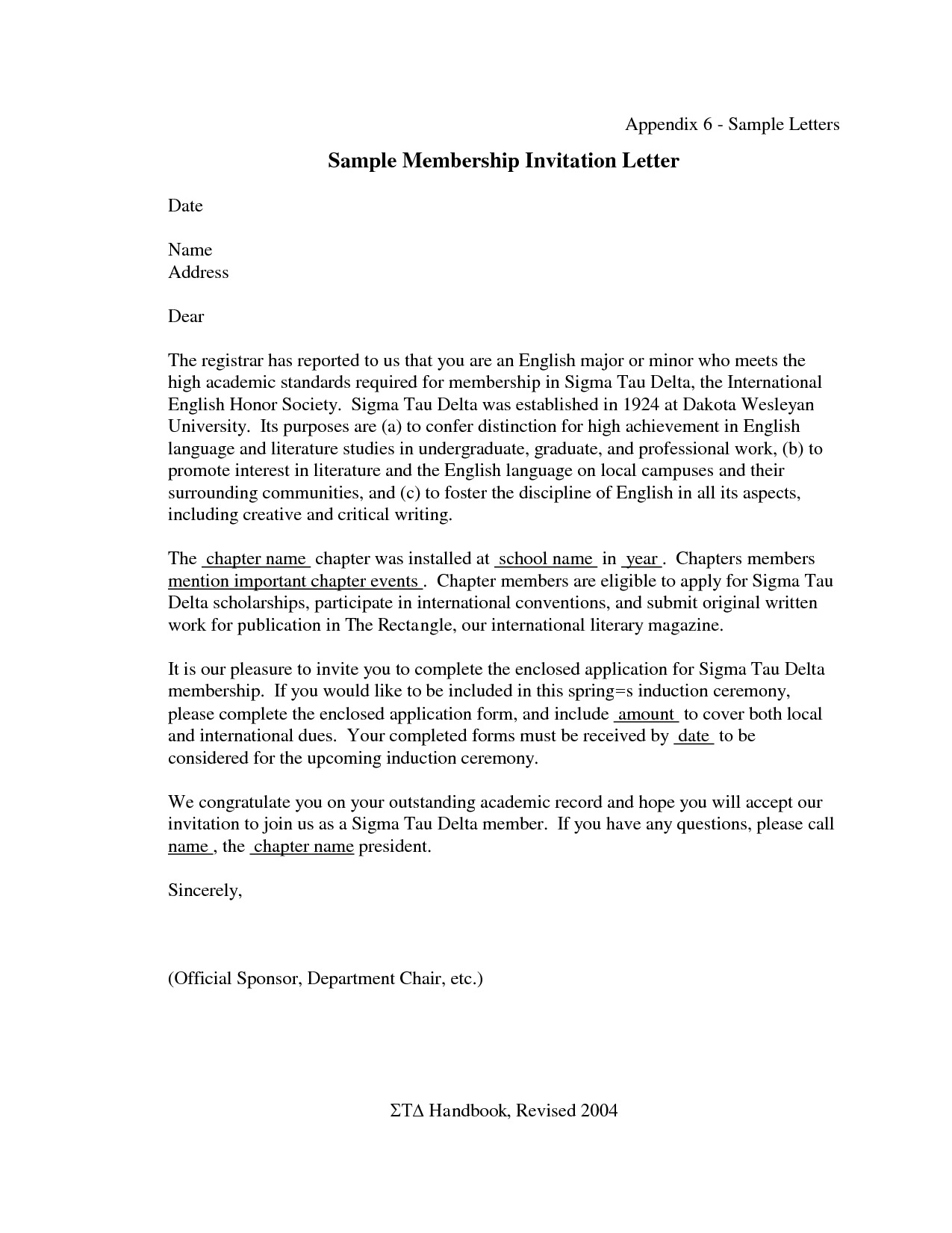 Induction Ceremony Invitation Letter