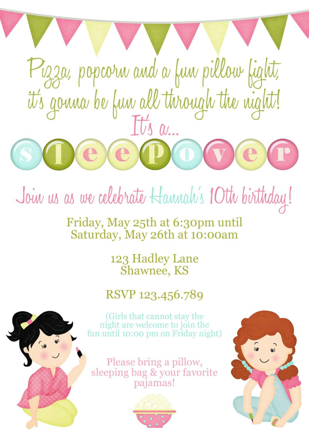 Invitation Slumber Party Wording