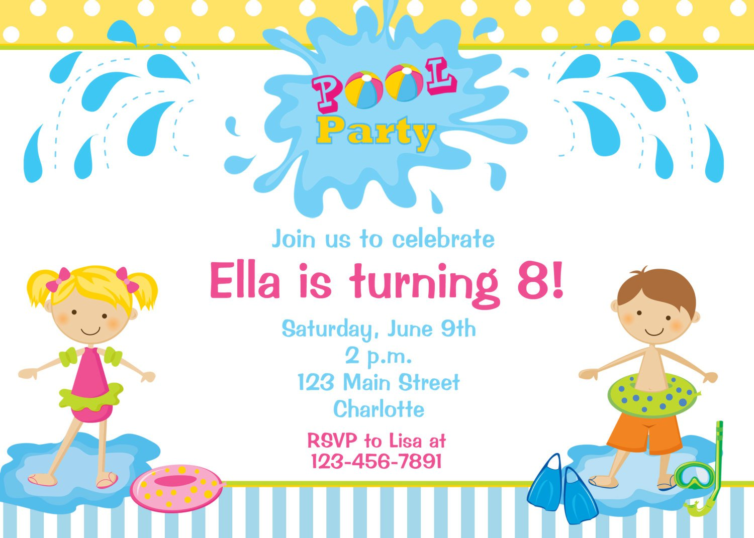 Invitation Swimming Birthday Party Ideas