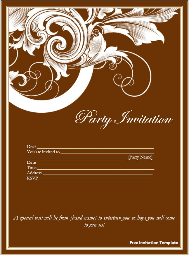 Invitation Templates For Word Free