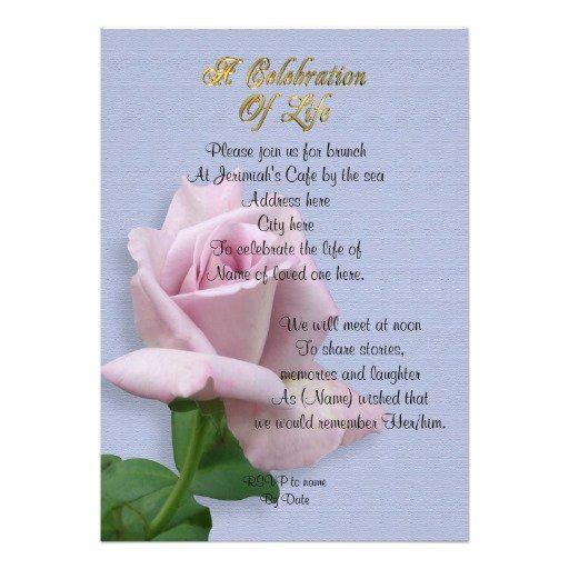 Invitation Wording Celebration Of Life