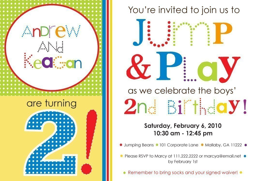 Party Invitation Wording – Bounce Party Invitation