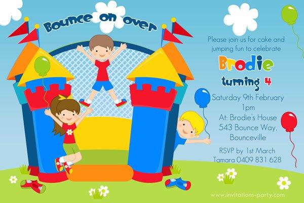 Jumping Castle Birthday Invitations
