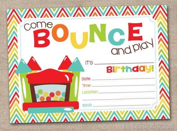 Jumping Castle Birthday Party Invitations
