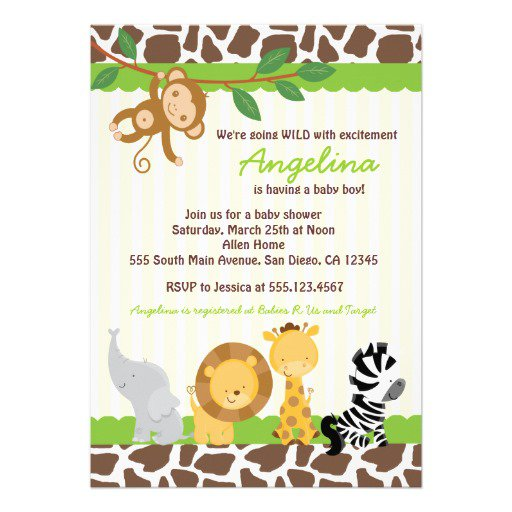 Jungle Baby Shower Invitations Templates