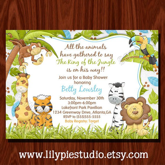 Jungle Baby Shower Invitations Templates Free