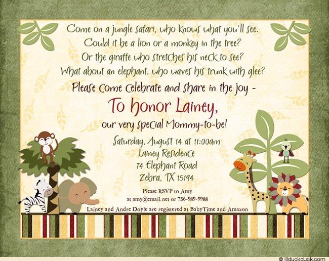 Jungle Safari Baby Shower Invitation Wording
