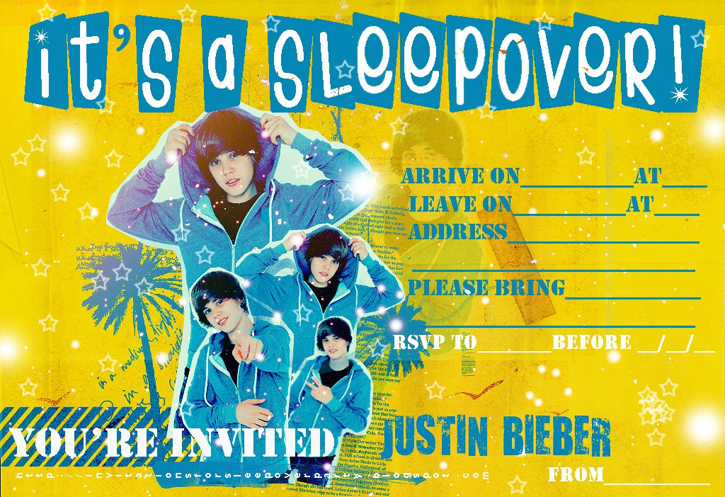 Justin Bieber Sleep Over Party Invitations Free Printable