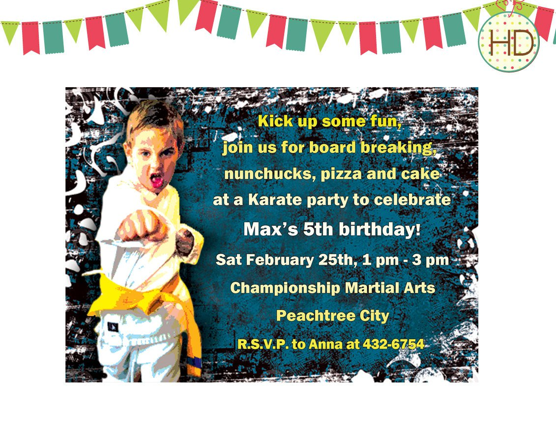 Karate Birthday Invitations