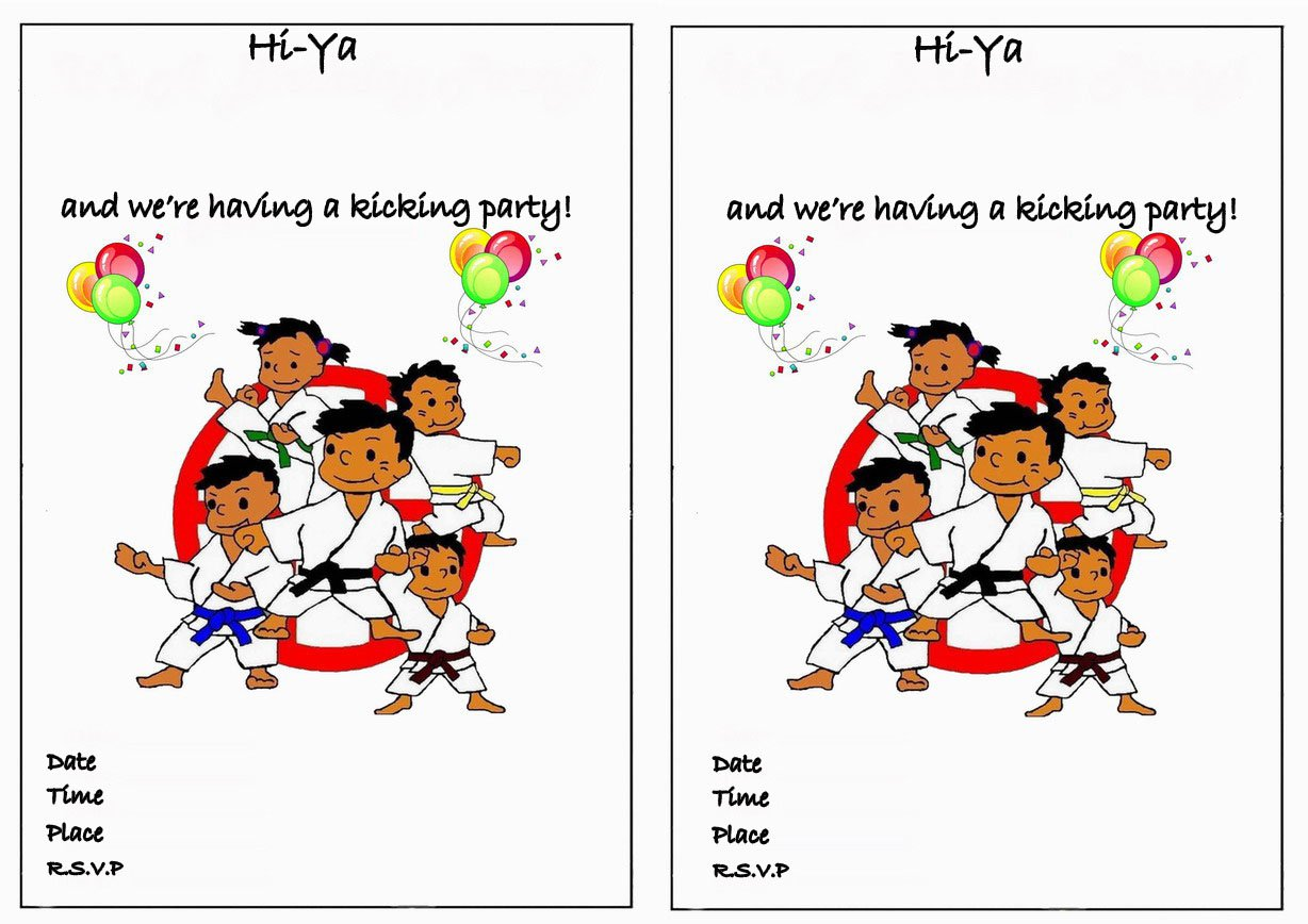 Karate Birthday Invitations Free