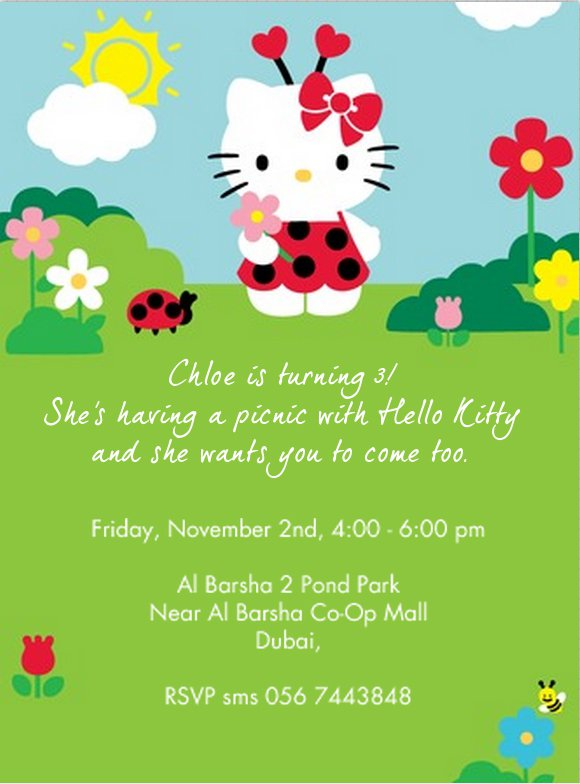 Kitty 2nd Birthday Invitation