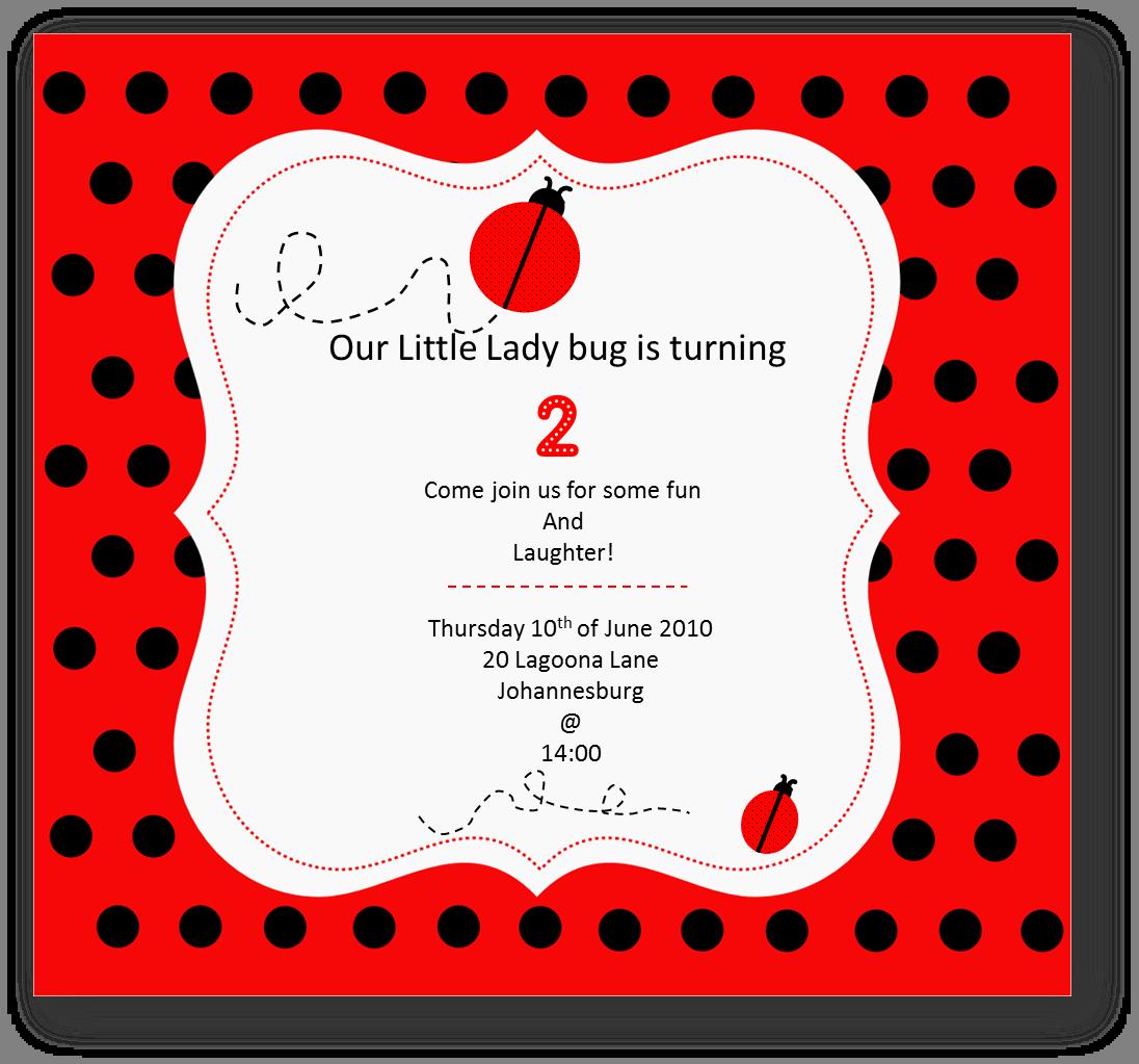 Ladybug 1st Birthday Invitation Templates
