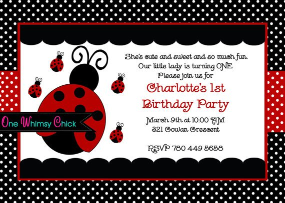 Ladybug 1st Birthday Invitation Wording
