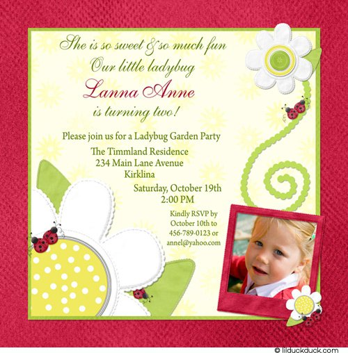 Ladybug Birthday Party Invitation Wording
