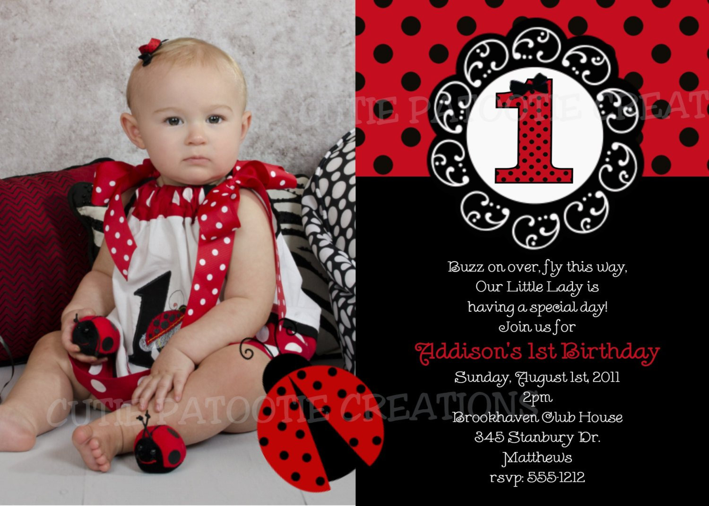 Ladybug First Birthday Invitation Wording