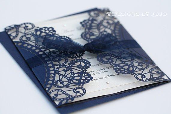 Laser-cut Invitation Wrap Navy Blue
