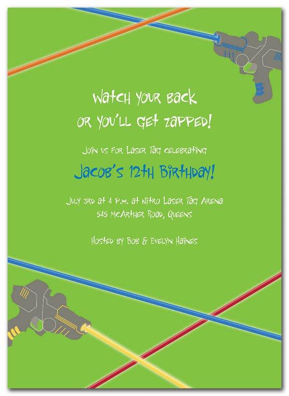 Laser Tag Birthday Invitation Templates