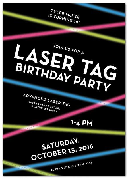 Laser Tag Birthday Party Invitations Printable